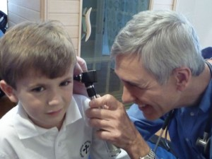 Examining a patient's ear